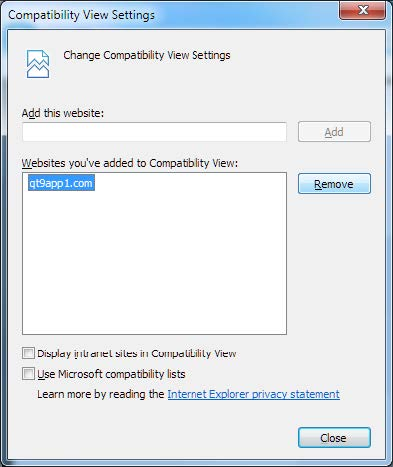 IE Compatibility View Settings